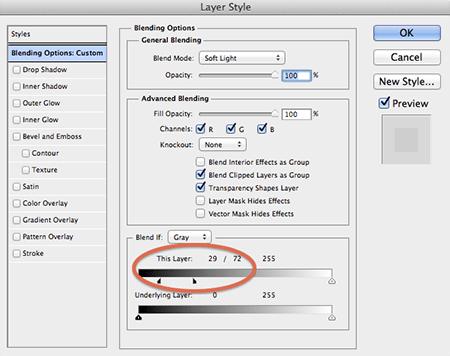 Adobe Photoshop blend if slider